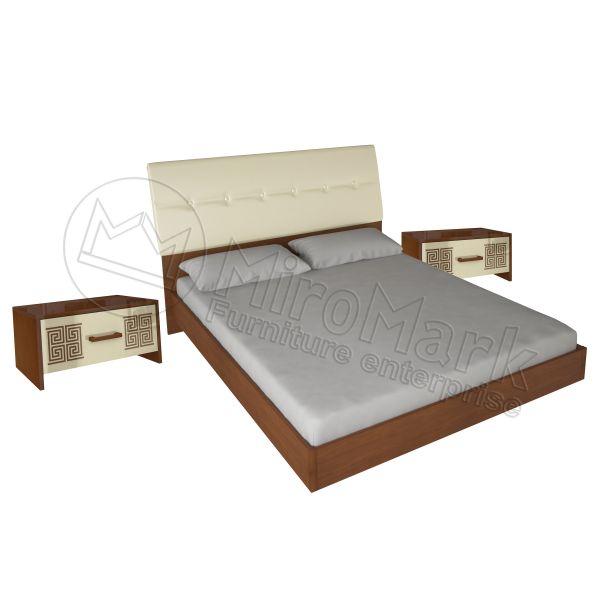 Комплект: кровать 1,6х2,0 c каркасом + 2 прикроватные тумбы